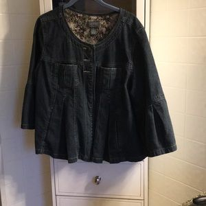 Peplum style jean jacket with bell sleeves